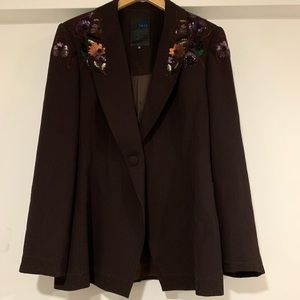 Vintage Iris Sequined flower brown blazer